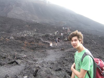Alex on the steaming lava field of Volcano Pacaya